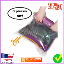 Travel Space Saver Bags - No Vacuum or Pump Needed - Luggage Accessories 8 Pack