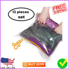 Travel Space Saver Bags - No Vacuum or Pump Needed - Luggage Accessories 12 pack
