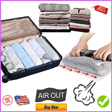 8 Travel Space Saver Bags - No Vacuum or Pump Needed - Luggage Accessories 4L 4M