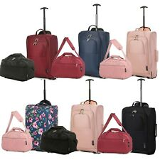 Ryanair Approved Hand Luggage Set 40x25x20 Holdall & 55x35x20 Cabin Bag Trolley