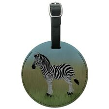 Zebra in Grasslands Round Leather Luggage Card Suitcase Carry-On ID Tag