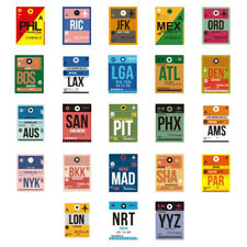 Airport Code Luggage Tag Themed Stickers - 46 Piece Lot