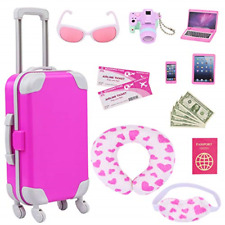 ZITA ELEMENT 16 Pcs American Doll Suitcase Luggage Travel Play Set for Girl 18