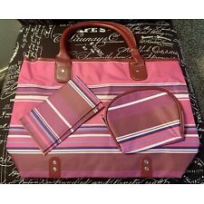 Woman Within 3 Piece Set Pink Striped Design Large Travel Tote, Purse & Wallet