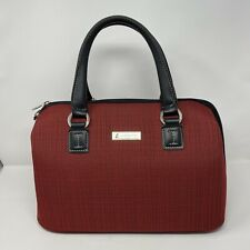 """London Fog 16"""" Carry On Chatham 360 Luggage Red Black Tweed Oxford Tote VHTF"""