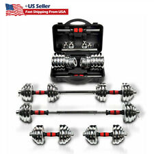 Adjustable 44/66/110lb Dumbbell Weight Set GYM Home Cast Full Iron Steel Plates