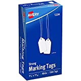 AVERY White Marking Tags Strung, Pack of 1000 (12204),,1 3/4 x 1 3/32