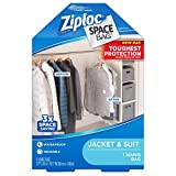 Ziploc Hanging Space Bag Clothes Vacuum Sealer Storage Bags for Home and Closet Organization, Protects from Moisture, Dust and Pests, Pack of 1