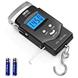 Fish scale, Dr.meter Backlit LCD Display 110lb/50kg PS01 Fishing Scale with Measuring Tape, Electronic Balance Digital Fishing Postal Hanging Hook Scale with 2 AAA Batteries-Fishing Gifts for Men