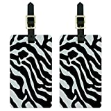 Graphics & More Zebra Print Black Luggage Tags Suitcase Carry-on Id, White