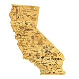 Totally Bamboo Destination California State Shaped Serving and Cutting Board, Includes Hang Tie for Wall Display