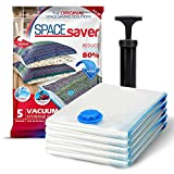 Spacesaver Premium Vacuum Storage Bags. 80% More Storage! Hand-Pump for Travel! Double-Zip Seal and Triple Seal Turbo-Valve for Max Space Saving! (Medium 5 Pack)