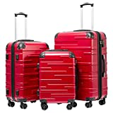 """Coolife Luggage Expandable(only 28"""") Suitcase 3 Piece Set with TSA Lock Spinner 20in24in28in (red)"""