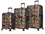 Betsey Johnson Designer Luggage Collection - Expandable 3 Piece Hardside Lightweight Spinner Suitcase Set - Travel Set includes 20-Inch Carry On, 26 inch and 30-Inch Checked Suitcase (Girls Print)