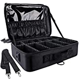 GZCZ 3 Layers Large Capacity Travel Professional Makeup Train Case Cosmetic Brush Organizer Portable Artist Storage bag 16.5 inches with Adjustable Dividers and shoulder strap for Make up Accessories
