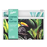 Ziploc Reusable Travel Makeup and Accessory Bag, Great for School or Home Organization, Boho Collection, 5 Essential and 5 Skinny, 10 Total Bags
