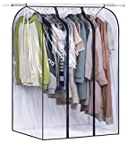 SLEEPING LAMB 50'' Extra Large Clear Hanging Garment Bags for Closet Storage Bottom Enclosed Garment Rack Cover Sealed Wardrobe Clothes Protector for Coats, Suits, Dresses (Not Including Frame)
