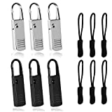 Premium Zipper Pull Replacement, 6Pcs Luggage Zipper Pulls Extender, Strong Metal Zippers Handle Mend Fixer, Zipper Tags Cord Pulls for Suitcases Backpack Jacket Coat Boots